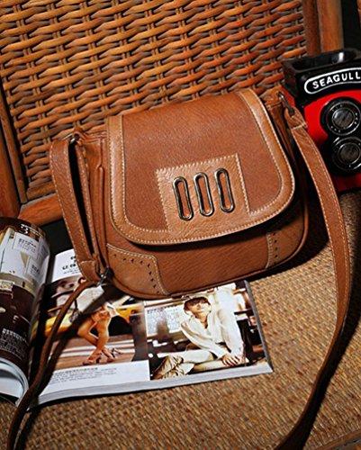 YouPue Damen Kleine Umhängetasche Schultasche Damenhandtaschen Schöne Taschen Pu-Leder Retro Tragetaschen Kaffee