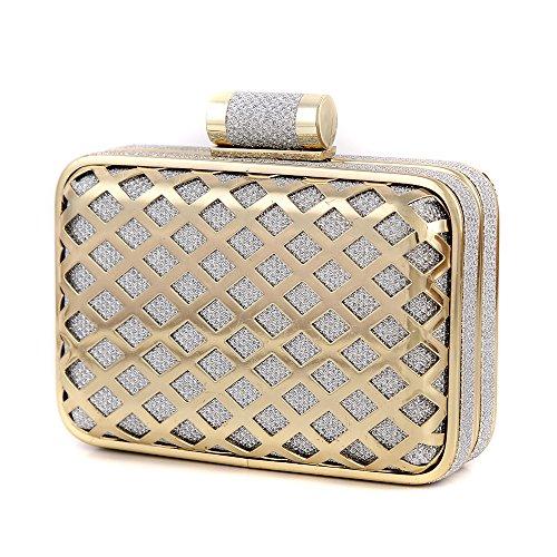 S Lady Design Handbags Collection Sac A Main En Daim Velours Pochette Epaule Femmes Soiree Millesime Elegant Couleurs Retro , Gold