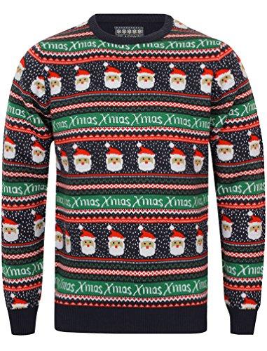 *Season's Greetings 'Xmas' Herren Neuheit Christmas Jumper Blau XXL*