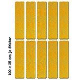 UvV-Shop Reflektorenaufkleber, 10 Stück 100 x 25 mm Unfälle vermeiden vorbeugen Schutz & Sicherheit in der Dunkelheit (gelb)