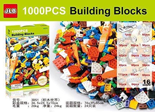 1000PCS Bausteine Set DIY Creative Brick Kinder Spielzeug Educational Bausteine Bulk kompatibel mit Marke Blocks, 1000PCS