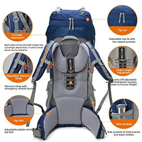 Mountaintop 60+10 Litri/70L+10/75L Zaino Trekking Impermeabile Escursionismo montagna campeggio alpinismo viaggio 78 x36 x23CM/85 X35 X30CM blu navy