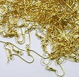 Chirurgischer Stahl Ohrring Haken Hypoallergen vergoldet Fishhook mit 10x 3,5mm, Kugel und Spule mit offener Schlaufe 21Gauge. 100paar. (200)