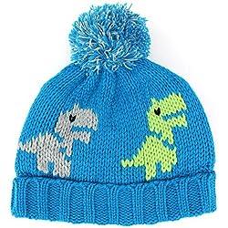 Jiglz Chunky Knit Bobble–Gorro con diseño de dinosaurio y forro polar Azul azul Talla única