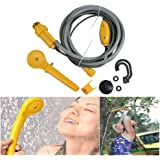 Riiai Outdoor Camping Shower Portable 12V Electric Outdoor Shower Kit For Travel Car Washing Camping Water Bag Kit Hiking Flowering Plants Watering Bathing and Motorcycle Washing Yellow