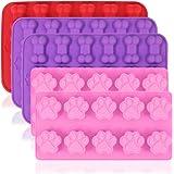 AIFUDA Hundtass och benformade silikonformar, 5 st valpgodis brickor av livsmedelskvalitet, återanvändbara bakredskap för bak