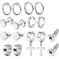 JZZJ 8 paia di orecchini a cerchio unisex in acciaio inossidabile anallergico, argento
