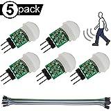 Youmile 5PACK IR Menschensensor AM312 Mini-Detektormodul HC-SR312 Pyroelektrischer Infrarot-PIR-Bewegungsmelder DC 2,7…