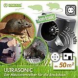 ISOTRONIC Mäuseabwehr/Rattenabwehr mit Ultraschall, Schädlingsvertreiber elektronisch für Haus, Keller, Garten, Mäuse und Ratten vertreiben ohne Chemie und Mäusefalle