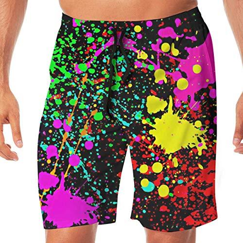 Harry wang Neon Colored Paint Splatter Man 3D Print Graphic Quick Dry Boardshort Swim Surf Trunk Cotton Beach Shorts,L (Splatter Paint Neon)