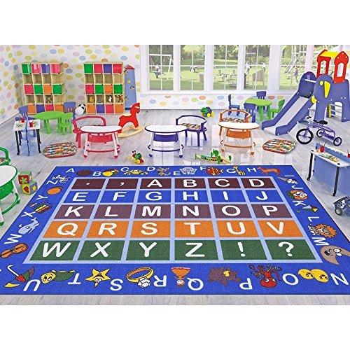 Ottomanson Jenny Collection Hellblau Rahmen mit Multi Farben Kids Kinder Educational Alphabet (Rutschfest) Bereich Teppich, Polypropylen, blau, JNA370036-3X5 -