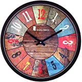 Amazon Brand - Solimo 12-inch Wall Clock - Vibrant Roulette (Step Movement, Black Frame)