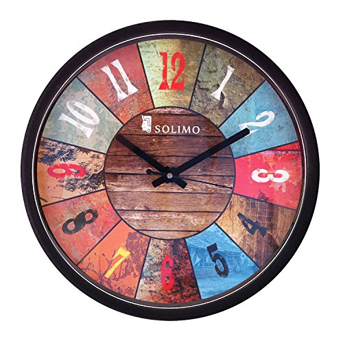 Amazon Brand - Solimo 12-inch Wall Clock - Vibrant Roulette (Step Movement,...