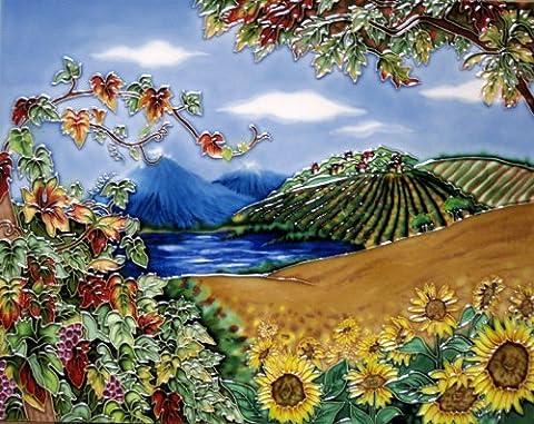 Continental Art Center hd-02211von 35,6cm Vineyard mit Sunflower Field Keramik Art Tile
