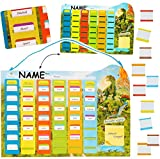 Unbekannt Stundenplan / Wochenplaner / Memoboard -  Dinosaurier - Tyrannosaurus Rex  - incl. Name - 77 Stück beschreibbare Tafeln - austauschbaren Schulstunden zum Ei..