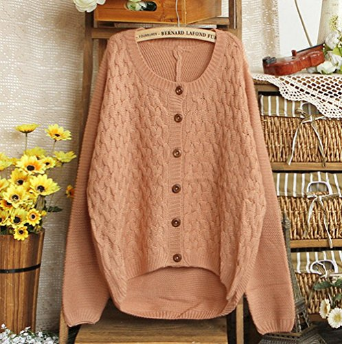 Smile YKK Damen Mode Strickjacke Pullover Mantel Warmen Wintermantel Ziegelrot