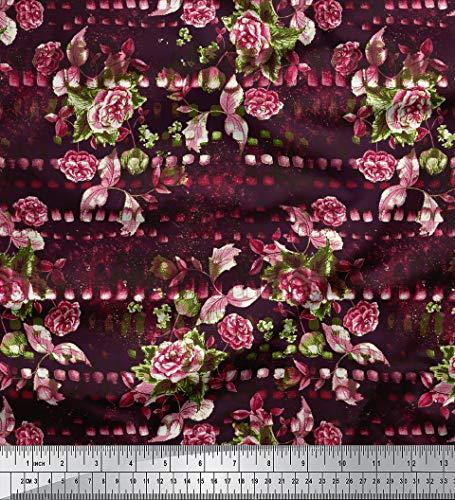 Soimoi indische Baumwollpopeline Stoff Pflaume Blumenmuster 58 Zoll breit Craft Material durch Das Messgerät -