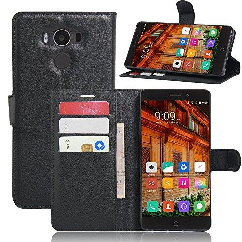 Preisvergleich Produktbild KuGi Elephone P9000 Lite Hülle- Hochwertige Ständer PU-Leder-Mappen-Kasten für Elephone P9000 Lite 4G LTE Smartphone.(Schwarz)