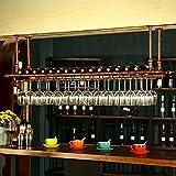 YANGMAN Weinflaschenhalter, Wandregal, Hängestange, Glas, verstellbar, Bronze, 80 x 30 cm