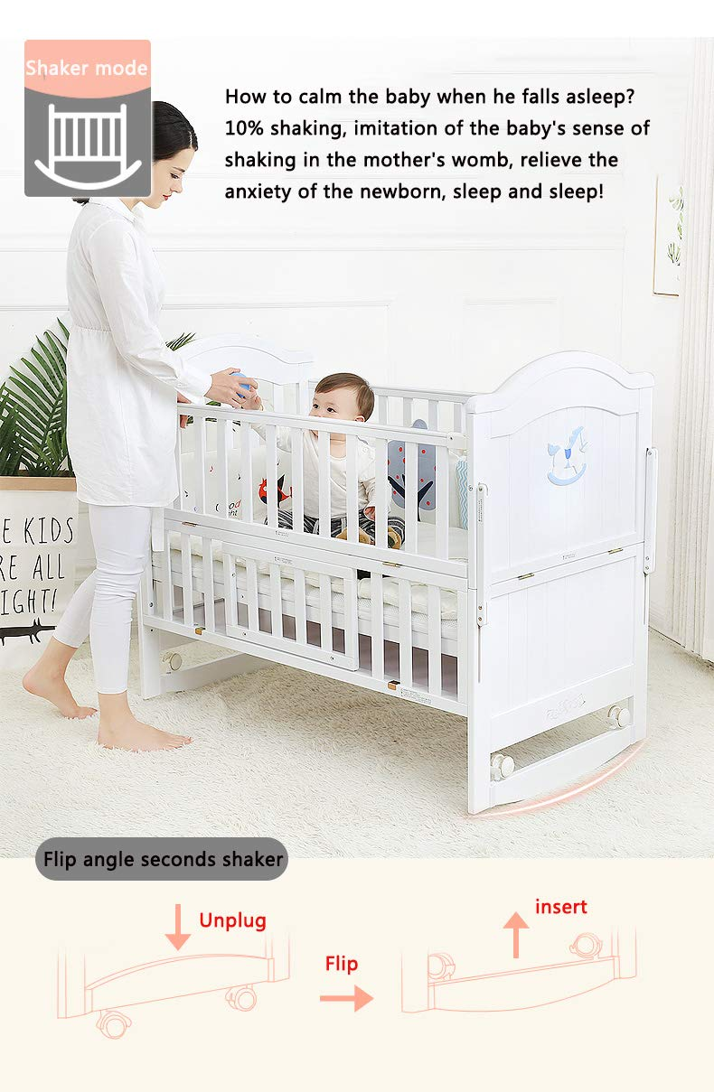 VBARV Solid Wood Crib, Multi-function Cradle Bed, Children's Splicing Bed, Portable Folding Bed, Suitable for Infants 0-8 Months Cute Nest VBARV The multifunctional bassinet design is suitable for use as a standalone crib, or as a co sleeper crib. Interchangeable modes allow either a stable or rocking mode at the touch of a button CONVERTIBLE: Simply pull up the side rail and use the cot as a stand-alone bed or bassinet during the day. Four lockable wheels make it easy for you to move from one room to another having your newborn always on your side. Modern travel crib in easily foldable,Mosquito net to protect your little one against insects, pets etc 6