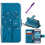 EMAXELERS Galaxy S4 Mini Hülle Wishing Tree Schmetterling Muster PU Leder Wallet Flip Cover im Handytasche Etui Brieftasche mit Standfunktion für Samsung Galaxy S4 Mini,Blue Wishing Tree with Diamond