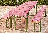 beo Festzeltauflagen Set inklusiv Tischdecke kariert im Landhausstil Bankauflage, circa 220 x 25 x 2,5 cm und 240 x 70 cm, rot/weiß / mehrfarbig