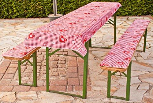 beo Festzeltauflagen Set inklusiv Tischdecke kariert im Landhausstil Bankauflage, circa 220 x 25 x 2,5 cm und 240 x 70 cm, rot/weiß/mehrfarbig