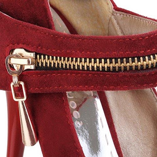 VogueZone009 Femme Velcro Suédé Rond à Talon Haut Couleur Unie Chaussures Légeres Rouge