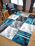 Modern Small Extra Large Sahara Teal Silver Marble Quality Thick Floor Long Carpet Runner Rugs (120cm x 170cm)