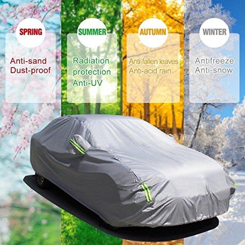 MATCC Bâche Auto Housse Étanche Protection avec Sécurités Réfléchissants Couverture Etanche Protection de Neige et D'ombrage de Soleil Pour N'importe Quelle Saison(4.7 x 1.8 x 1.5m)