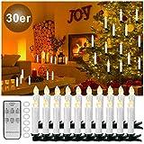 YAOBLUESEA 30stk Weinachten LED Kerzen Lichterkette Kabellos Weihnachtskerzen Christbaumschmuck Weihnachtsbaumbeleuchtung mit Fernbedienung Kabellos für Weihnachtsbaum Weihnachtsdeko Hochzeit Weiss