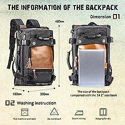 Overmont 35L Sac à Dos du Style Vintage Multifonctionnel Portable Sac à Main l'ouveryure et Fermeture zippée en Cuir/Toile pour randonnée Voyage en Plein air Khaki/Noir