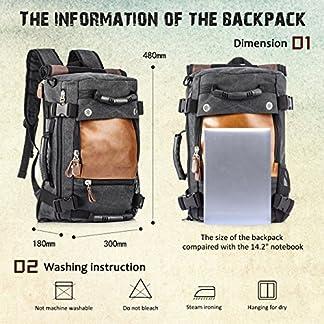 Overmont Multifuncional portátil Vintage Mochila Bolsa Macuto de Lona Cuero para excursión Camping Senderismo Acampada Viaje
