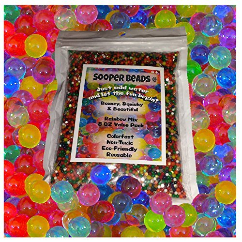 Water Beads, 8 OZ pack (Almost 20000 !!) Sooper Beads Crystal Water Gel Bead [Rainbow Mix] Used For Kids Tactile Toys - SensoryToys, Orbeez refill, Vase Filler, Soil, Plant decoration, Bamboo Plants by Sooper Beads