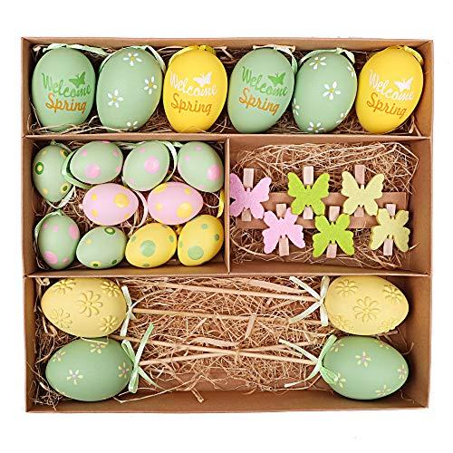 Victor's workshop set decorativo di pasqua set di 26 uova multicolori in plastica da 4/6 cm per giardino-giallo/rosa/verde