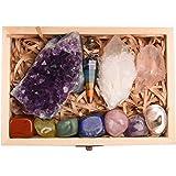 Juego de 11 cristales curativos, kit de piedras de chakras en caja de regalo, amatista natural, racimo de piedras curativas d