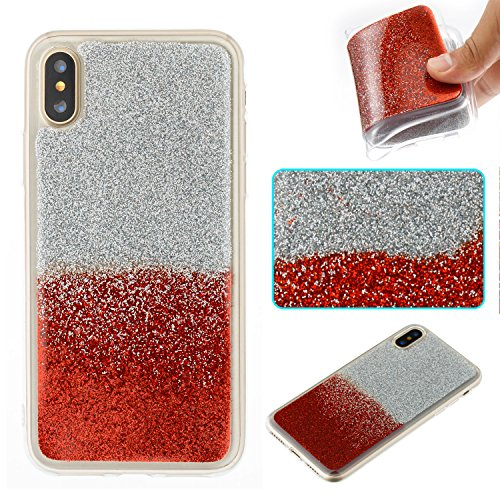 Custodia per iphone X Cover Silicone Brillantini ,OYIME Colore Misto Glitter Paillettes Creativo Design Elegante Morbida Sottile Originale Protettiva Caso Chiaro Trasparente Copertura Bling Shiny Slim Misto-Rossa