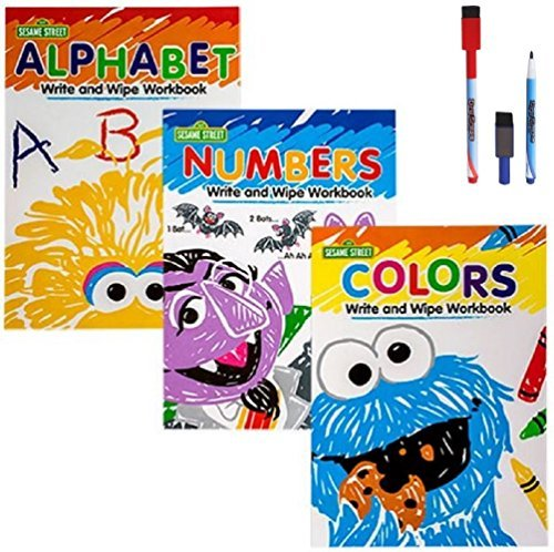 Sesame Street Wipe-Clean Workbooks Numbers Alphabet Colors Shapes Big Bird Cookie Monster Oscar Elmo and Dry Erase Markers with Eraser Caps 5-pc Set by Greenbrier 5 Sesame Street Cookie