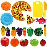 Acefun 24 Stück Plastik Lebensmittel Spielzeug Obst Schneiden Spielzeug Gemüse Geschirr Kinderküche Pretend Play Kinderküche Plastik Küchenspielzeug