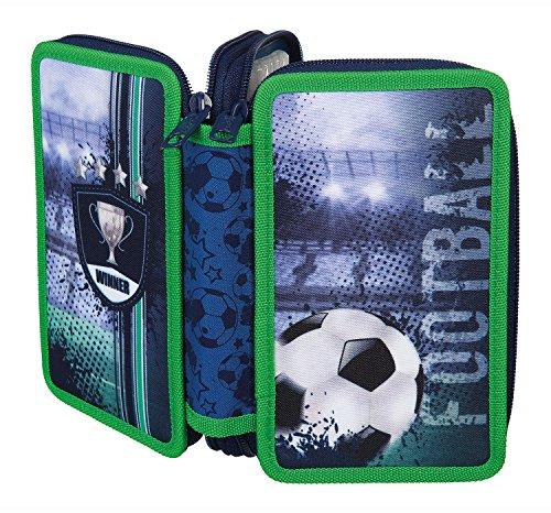 Scooli Sporttasche Football Cup, ca. 35 x 16 x 24 cm Sporttasche, 8 Liter, Blau Doppeldecker Schüleretui