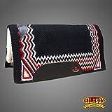 HILASON Made in USA FE270 Western Wolle Schock Buster Sattel Decke Pad schwarz