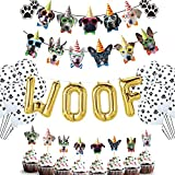 MIFIRE Decoraciones de cumpleaños para Perros, Suministros para Fiestas temáticas con Woof Globo de Papel de Aluminio, 1 Banner de Perro, 24 de Primeros de la Magdalena del Perro,12 Globos de látex