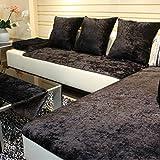 TY&WJ Plüsch Anti-rutsch Sofabezug Wohnzimmer Sofabezug Outdoor Couch-abdeckungen Möbel Protector Für ledersofa Haustier Hund & Kinder-schwarz 60x150cm(24x59inch)