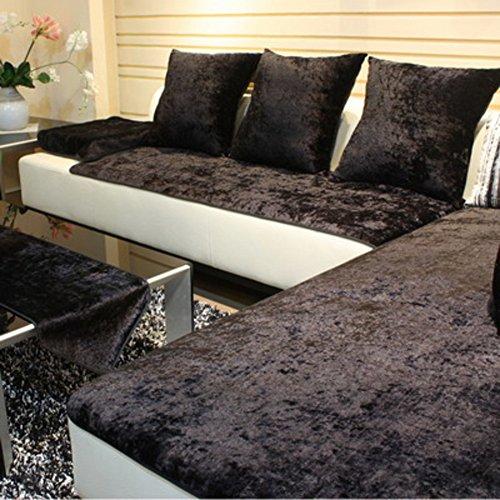 TY&WJ Plüsch Anti-rutsch Sofabezug Wohnzimmer Sofabezug Outdoor Couch-abdeckungen Möbel Protector Für ledersofa Haustier Hund & Kinder-schwarz 70x120cm(28x47inch)