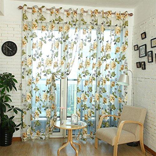 display08chino tela flores bordado Tela de tul pura cortina de ventana en 3d decoración del hogar, poliéster, marrón, 140cm x 250cm(On Rod)
