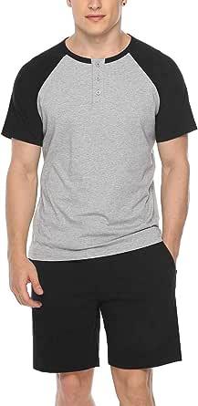 Sykooria Mens Pyjamas Set Cotton Pyjama Lounge Wear Short/Long Sleeves Round Neck T-Shirts Woven Mens Nightwear Sleepwear