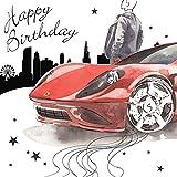 twizler Happy Birthday Karte für Ihn mit Silber folieren, Einzigartige Wasserfarben Effekt–Rot Sport Auto–Stecker Geburtstagskarte