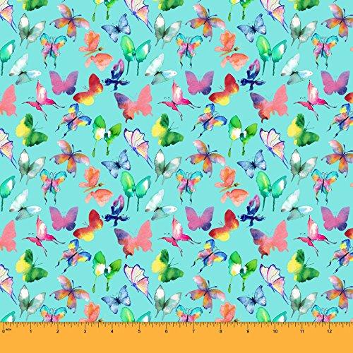 Soimoi Dekorativer Schmetterlings-Druck 58 Zoll Breiter Baumwolle Cambric Stoff Craft Stoff Durch Das Meter - Aqua Blue (Schmetterling Schiere Stoff)