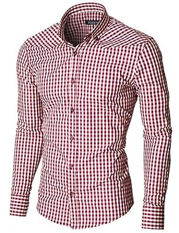 MODERNO Herren Hemd Kariert Silm Fit Button Down Kragen Langarm (MOD1458LS) Rot/Weiß EU L