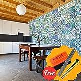 Walplus Extraíble Autoadhesivo Arte Mural Adhesivos Vinilo Decoración Hogar Bricolaje Living Cocina Dormitorio Decor Papel Pintado Inglés Frase Marroquí Azul Celeste Verde Azulejo de Pared 48 Piezas